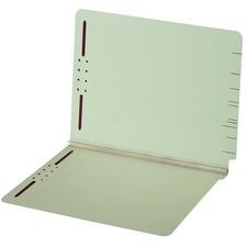 "Globe-Weis Straight Tab Cut Legal Recycled Fastener Folder - 8 1/2"" x 14"" - 2"" Expansion - 2 Fastener(s) - End Tab Location - Pressboard, Stock - Light Green - 1 Each"