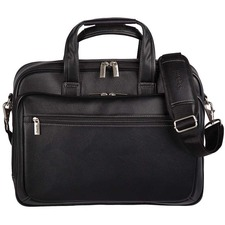 "bugatti Carrying Case (Briefcase) for 15.6"" Computer, Tablet - Black - Synthetic Leather - Shoulder Strap - 13"" (330.20 mm) Height x 16"" (406.40 mm) Width x 5"" (127 mm) Depth - 1 Pack"