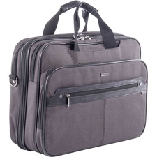 """bugatti Carrying Case (Briefcase) for 17.3"""" Notebook - Gray - Nylon Strap, Nylon, Synthetic Leather Trim - Shoulder Strap - 12.50"""" (317.50 mm) Height x 16.50"""" (419.10 mm) Width x 4.75"""" (120.65 mm) Depth - 1 Pack"""