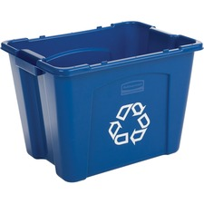 "Rubbermaid Commercial Recycling Box 14 Gal Blue - 53 L Capacity - Handle - 14.8"" Height x 16"" Width x 20.8"" Depth - Resin - Blue - 1 Each"