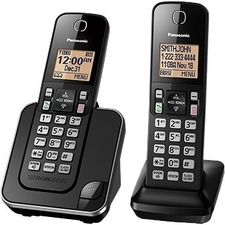 Panasonic KX-TGC382 DECT 6.0 1.93 GHz Cordless Phone - Black - Cordless - Corded - 1 x Phone Line - 2 x Handset - Speakerphone - Hearing Aid Compatible