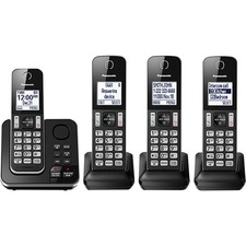 Panasonic KX-TGD394 DECT 6.0 1.93 GHz Cordless Phone - Black - Cordless - Corded - 1 x Phone Line - 4 x Handset - Speakerphone - Answering Machine - Hearing Aid Compatible