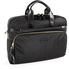 "bugatti Carrying Case (Briefcase) for 15.6"" Computer - Black - Nylon Strap, Leather, Nylon - Shoulder Strap - 11.50"" (292.10 mm) Height x 16"" (406.40 mm) Width x 4"" (101.60 mm) Depth - 1 Pack"
