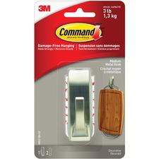 Command Metal Adhesive Hook - 1.36 kg Capacity - Metal, Nickel - 1 Each