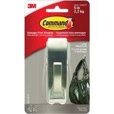 Command Metal Adhesive Hook - 2.27 kg Capacity - Metal, Nickel - 1 Each