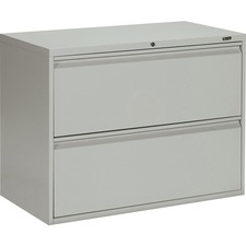 """Offices To Go 2 Drawer High Lateral Cabinet - 36"""" x 19.3"""" x 27.3"""" - 2 x Drawer(s) for File - Lateral - Interlocking, Lockable, Leveling Glide - Gray - Metal"""