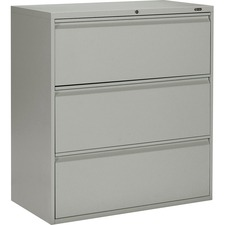 """Offices To Go 3 Drawer High Lateral Cabinet - 36"""" x 19.3"""" x 39.1"""" - 3 x Drawer(s) for File - Lateral - Interlocking, Lockable, Leveling Glide - Gray - Metal"""