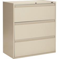 """Offices To Go 3 Drawer High Lateral Cabinet - 36"""" x 19.3"""" x 39.1"""" - 3 x Drawer(s) for File - Lateral - Interlocking, Lockable, Leveling Glide - Nevada - Metal"""