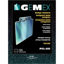 "Gemex Name Badge Holder - 2.25"" (57.15 mm) x 3.50"" (88.90 mm) x - Vinyl - 100 / Box - Clear"