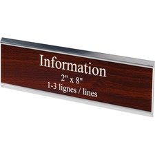 "Derome Engraved Plate with Holder - 1 Each - 8"" (203.20 mm) Width x 2"" (50.80 mm) Height - Engraved"