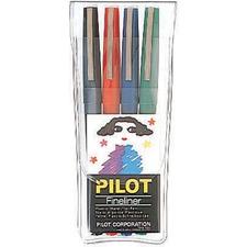 Pilot Fineliner Marker - 0.4 mm Marker Point Size - Assorted Water Based, Liquid Ink - Polyester Tip - 4 / Pack