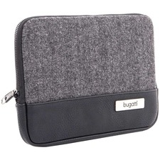 """bugatti Carrying Case (Sleeve) for 10.2"""" Notebook, Tablet - Black, Gray - Polyester, Synthetic Leather - Herringbone Pattern - 7.50"""" (190.50 mm) Height x 10.50"""" (266.70 mm) Width x 0.75"""" (19.05 mm) Depth - 1 Pack"""