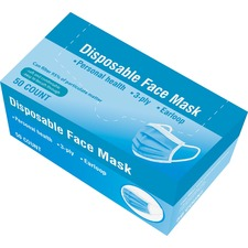 Special Buy Disposable Face Mask - Recommended for: Face - Disposable, Breathable, Soft, Comfortable, Pleated, Earloop Style Mask, Secure, Latex-free - Full Face Protection - Multi - 50 / Box