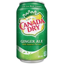 Coca-Cola Canada Dry Ginger Ale Soft Drink - Ready-to-Drink - Ginger Ale Flavor - 354.88 mL - 24 / Box / Can