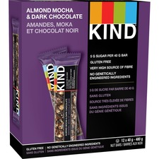 KIND Almond Mocha and Dark Chocolate Bar - Gluten-free, Individually Wrapped, Non-GMO - 12 / Box