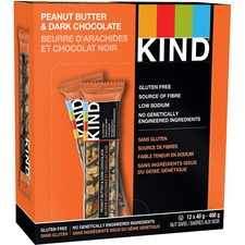 KIND Peanut Butter and Dark Chocolate Bar - Gluten-free, Individually Wrapped, Non-GMO - Peanut Butter, Dark Chocolate - 39.7 g - 12 / Box