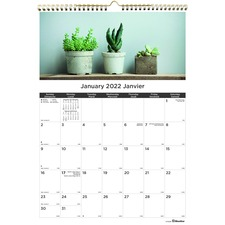 "Blueline Monthly Wall Calendar 2021, Succulent Plants - Monthly - 1 Year - January 2021 till December 2021 - 1 Month Single Page Layout - 12"" x 17"" Sheet Size - Twin Wire - Paper, Chipboard - Printed, Heavyweight, Daily Block, Eyelet, Project Section, Schedule Section, Notes Area, Reminder Section, Reinforced, Bilingual, Sturdy Back - 1 Each"