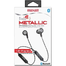 Maxell Bass13 Metallic Wireless Earbuds - Stereo - Wireless - Bluetooth - Earbud, Behind-the-neck - Binaural - In-ear - Gray