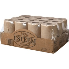 """Esteem Cleaning Towel - 8"""" x 205 ft - Brown - Eco-friendly - For Hand - 12 / Box"""