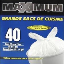 """Polyethics Trash Bag - 22"""" (558.80 mm) Width x 24"""" (609.60 mm) Length - White - Hexene Resin, Plastic Resin - 40/Box - Garbage, Kitchen"""