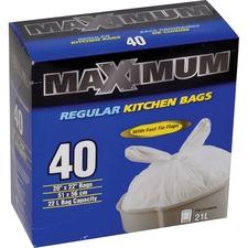 """Polyethics Trash Bag - 20"""" (508 mm) Width x 22"""" (558.80 mm) Length - White - Hexene Resin, Plastic Resin - 40/Box - Garbage, Kitchen"""