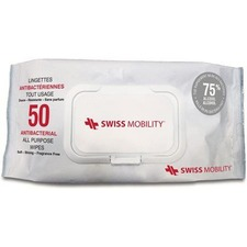 Bugatti Swiss Mobility - Antibacterial All Purpose Wipes - 75% Alcohol - For Hand - 50 / Pack