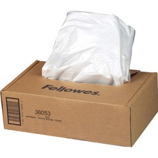 "Fellowes AutoMax 130C/200C Shredders Waste Bags - 9 gal - 30"" Height x 29"" Width x 14"" Depth - 100/Box - Plastic - Clear"