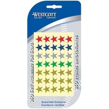 Westcott Star Stickers - 350 (Star) Shape - Easy Peel - Assorted - 350 / Card