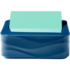 "Post-it® Pop-up Note Wave Dispenser - 3"" (76.20 mm) x 3"" (76.20 mm) Note - 45 Sheet Note Capacity - Metallic Blue"