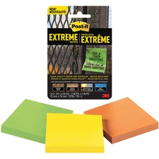 """Post-it® Extreme Adhesive Note - 3"""" x 3"""" - Square - Green, Yellow, Orange - Paper - Sticky, Water Resistant, Writable, Adhesive - 3 / Pack"""