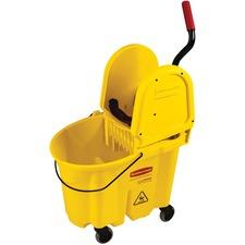 "Rubbermaid Commercial WaveBrake Bucket/Wringer - 33 L - 25.50"" (647.70 mm) x 16.56"" (420.70 mm) - Yellow - 1"