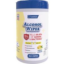 Pro Sanitize Multi-Purpose Alcohol Hand Wipes - Wipe - Lemon Scent - 80 - 1 / Each - White