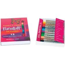 Funstuff Oil Pastels. 12 Assorted Regular Sticks - Assorted - 1 / Pack