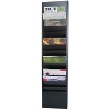 "FC Metal Wall Rack - 14 Compartment(s) - 42.3"" Height x 9.8"" Width x 3.8"" Depth - Black - 1 Each"
