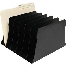 """FC Metal Desktop File Sorter - 6 Compartment(s) - 7.5"""" Height x 12"""" Width x 12"""" Depth - Desktop - Black - Metal - 1 Each"""