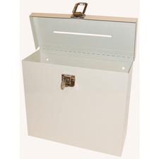 """FC Metal Storage Case - External Dimensions: 8.5"""" Height - Metal - Beige - 1 Each"""