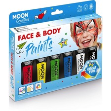 Moon Creations Face & Body Paint Primary Colours Boxset - 12 mL - 1 Each - Red, Yellow, Green, Blue, White, Black