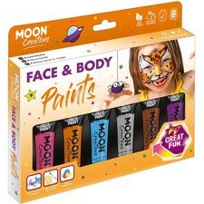 Moon Creations Face & Body Paint Adventure Colours Boxset - 12 mL - 1 Each - Pink, Orange, Blue, Gray, Brown, Purple