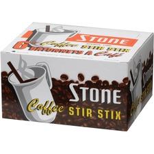 "Stone Stir Stick - 6"" Length - Plastic - 1000 / Box - Brown"