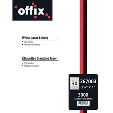 Offix Multipurpose Label - Permanent Adhesive - Rectangle - Laser, Inkjet - White - 3000 / Box