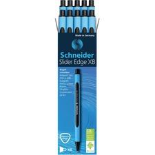 Schneider Ballpoint Pen Slider Edge M Black - Medium Pen Point - Black - Rubberized Barrel - 10 / Box