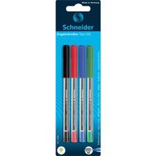 Schneider Tops 505 Ballpoint Pens - Medium Pen Point - Assorted - Stainless Steel Tip - 4 / Pack