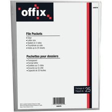 Offix File Pocket - Poly - Clear - 25 / Pack
