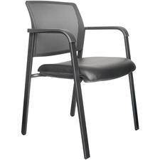 Horizon Activ A-20 Guest Chair - Black Fabric, Vinyl Seat - Black Fabric Back - Low Back - Four-legged Base - Armrest - 1 Each