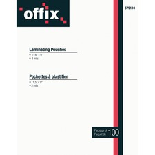 """Offix Laminating Pouch - Sheet Size Supported: Letter 8.50"""" (215.90 mm) Width x 11"""" (279.40 mm) Length - Laminating Pouch/Sheet Size: 3 mil Thickness - 100 / Pack"""