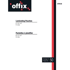 """Offix Laminating Pouch - Sheet Size Supported: Letter 8.50"""" (215.90 mm) Width x 11"""" (279.40 mm) Length - Laminating Pouch/Sheet Size: 3 mil Thickness - 50 / Pack"""