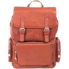 """bugatti Sartoria Carrying Case (Backpack) for 15.6"""" Notebook - Cognac - Top Grain Leather - Shoulder Strap - 17"""" (431.80 mm) Height x 11"""" (279.40 mm) Width x 5"""" (127 mm) Depth - 1 Pack"""