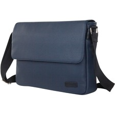 "bugatti Contrast Carrying Case (Messenger) for 14"" Notebook - Navy - Vegan Leather - Textured - Shoulder Strap - 11"" (279.40 mm) Height x 15"" (381 mm) Width x 3"" (76.20 mm) Depth"