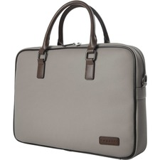 "bugatti Carrying Case (Briefcase) for 14"" Notebook - Gray - Vegan Leather - Handle, Trolley Strap - 11"" (279.40 mm) Height x 15.50"" (393.70 mm) Width x 3"" (76.20 mm) Depth - 1 Pack"