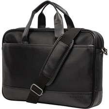"""bugatti Gin & Twill Carrying Case (Briefcase) for 15.6"""" Notebook - Black - Vegan Leather, Twill - Textured - Handle, Trolley Strap - 10.50"""" (266.70 mm) Height x 16"""" (406.40 mm) Width x 2.75"""" (69.85 mm) Depth - 1 Pack"""